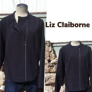 LIZ CLAIBORNE Sport Jacket Coat Zip Up Side   XL